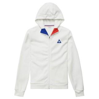 Le Coq Sportif Sweat à capuche zippé Tricolore Homme Blanc Escompte En Lgine