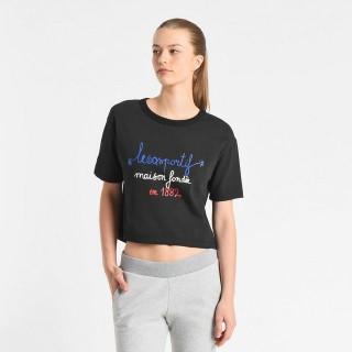 Le Coq Sportif T-shirt Tricolore 1882 Femme Noir En Soldes