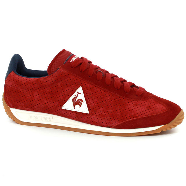 Basket Le Coq Sportif Quartz Perforated Nubuck Femme Rouge Bleu