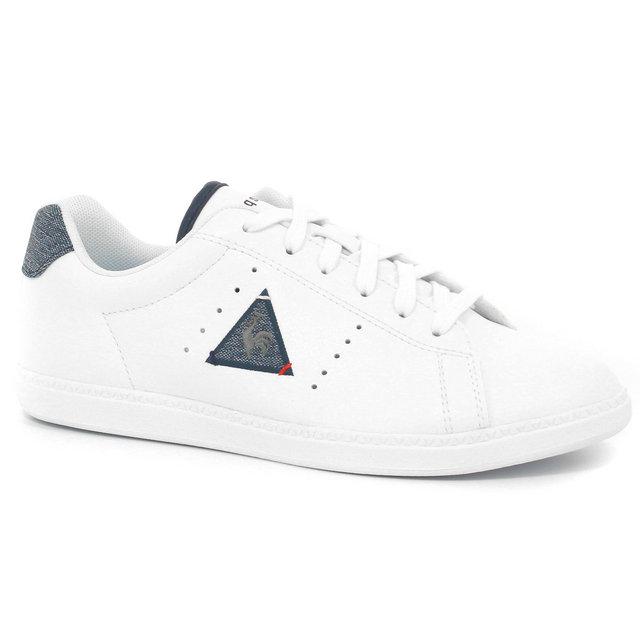 0633c9858f3d Chaussures Le Coq Sportif Courtone Gs S Lea 2 Tones Fille Blanc Bleu Remise  Paris en ligne