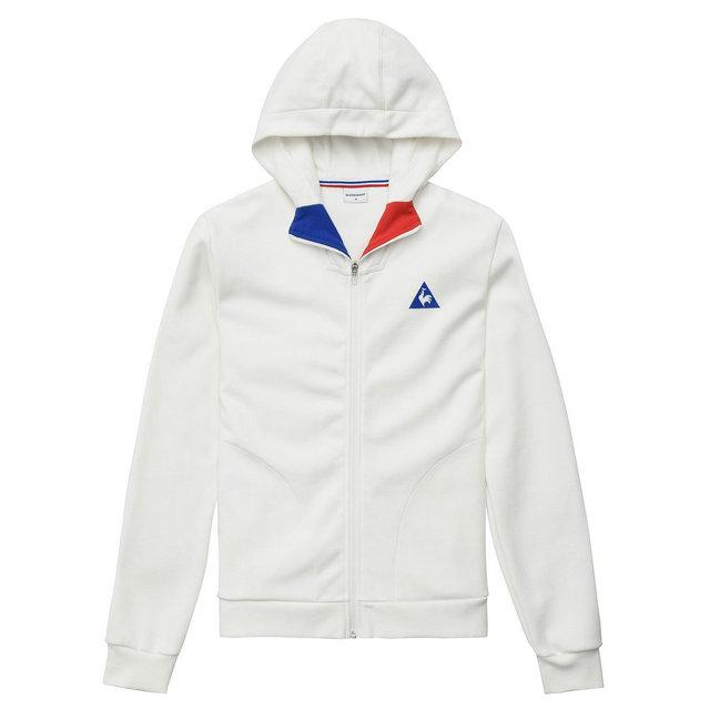 58bc147f7f195 Le Coq Sportif Sweat à capuche zippé Tricolore Homme Blanc Escompte En Lgine