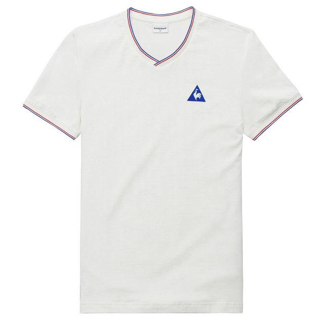 best sneakers 70729 c5388 Coq Le Homme Rabais Sportif Tricolore Blanc Shirt T d4w4Xqr